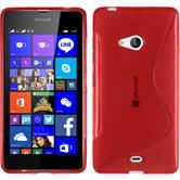 Silikon Hülle Lumia 540 Dual S-Style rot + 2 Schutzfolien