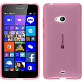 Silikon Hülle Lumia 540 Dual transparent rosa + 2 Schutzfolien