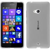 Silikon Hülle Lumia 540 Dual transparent weiß + 2 Schutzfolien