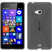 Silikon Hülle Lumia 540 Dual X-Style grau + 2 Schutzfolien