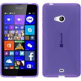 Silikon Hülle Lumia 540 Dual X-Style lila + 2 Schutzfolien