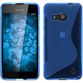 Silikon Hülle Lumia 550 S-Style blau + 2 Schutzfolien