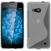 Silikon Hülle Lumia 550 S-Style clear + 2 Schutzfolien