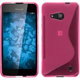 Silikon Hülle Lumia 550 S-Style pink + 2 Schutzfolien