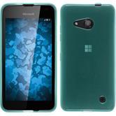 Silikon Hülle Lumia 550 transparent türkis + 2 Schutzfolien