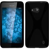 Silikon Hülle Lumia 550 X-Style schwarz + 2 Schutzfolien