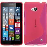 Silikon Hülle Lumia 640 S-Style pink + 2 Schutzfolien