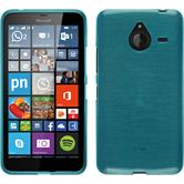 Silikon Hülle Lumia 640 XL brushed blau + 2 Schutzfolien