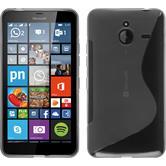 Silikon Hülle Lumia 640 XL S-Style grau + 2 Schutzfolien