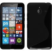 Silikon Hülle Lumia 640 XL S-Style schwarz + 2 Schutzfolien