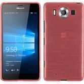 Silikon Hülle Lumia 950 brushed rosa + 2 Schutzfolien