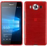 Silikon Hülle Lumia 950 brushed rot + 2 Schutzfolien
