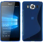 Silikon Hülle Lumia 950 S-Style blau + 2 Schutzfolien