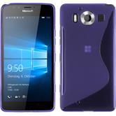Silikon Hülle Lumia 950 S-Style lila + 2 Schutzfolien