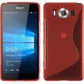 Silikon Hülle Lumia 950 S-Style rot + 2 Schutzfolien