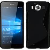 Silikon Hülle Lumia 950 S-Style schwarz + 2 Schutzfolien