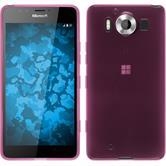 Silikon Hülle Lumia 950 transparent rosa + 2 Schutzfolien