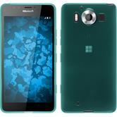 Silikon Hülle Lumia 950 transparent türkis + 2 Schutzfolien