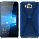 Silikon Hülle Lumia 950 X-Style blau + 2 Schutzfolien