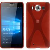 Silikon Hülle Lumia 950 X-Style rot + 2 Schutzfolien