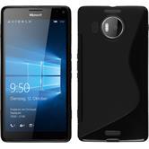 Silikon Hülle Lumia 950 XL S-Style schwarz + 2 Schutzfolien