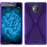 Silikon Hülle Lumia 950 XL X-Style lila + 2 Schutzfolien