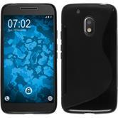 Silikon Hülle Moto G4 Play S-Style schwarz + 2 Schutzfolien