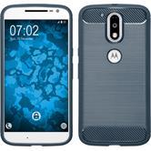 Silikon Hülle Moto G4 Plus Ultimate blau + 2 Schutzfolien