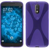 Silikon Hülle Moto G4 Plus X-Style lila + 2 Schutzfolien