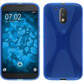 Silikon Hülle Moto G4 X-Style blau + 2 Schutzfolien