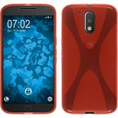 Silikon Hülle Moto G4 X-Style rot + 2 Schutzfolien