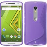 Silikon Hülle Moto X Play S-Style lila + 2 Schutzfolien