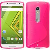 Silikon Hülle Moto X Play S-Style pink + 2 Schutzfolien