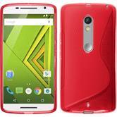 Silikon Hülle Moto X Play S-Style rot + 2 Schutzfolien