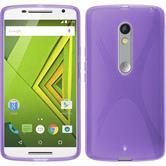 Silikon Hülle Moto X Play  lila + 2 Schutzfolien