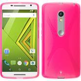 Silikon Hülle Moto X Play X-Style pink + 2 Schutzfolien