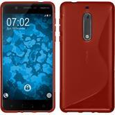 Silikon Hülle Nokia 5 S-Style rot + 2 Schutzfolien