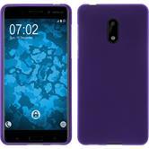 Silikon Hülle Nokia 6 matt lila + 2 Schutzfolien
