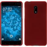 Silikon Hülle Nokia 6 matt rot + 2 Schutzfolien