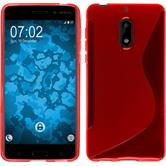 Silicone Case 6 S-Style red + protective foils
