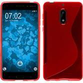 Silikon Hülle Nokia 6 S-Style rot + 2 Schutzfolien