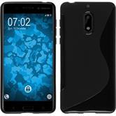Silikon Hülle Nokia 6 S-Style schwarz + 2 Schutzfolien