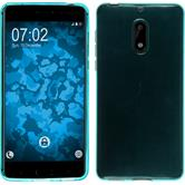 Silikon Hülle Nokia 6 transparent türkis + 2 Schutzfolien
