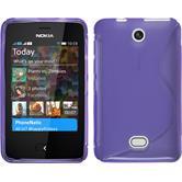 Silikon Hülle Nokia Asha 501 S-Style lila + 2 Schutzfolien