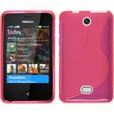 Silikon Hülle Nokia Asha 501 S-Style pink + 2 Schutzfolien