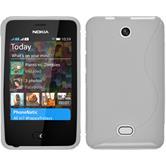 Silikon Hülle Nokia Asha 501 S-Style weiß + 2 Schutzfolien
