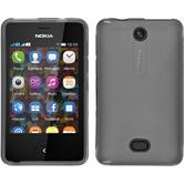 Silikon Hülle Nokia Asha 501 X-Style grau + 2 Schutzfolien