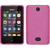 Silikon Hülle Nokia Asha 501 X-Style pink + 2 Schutzfolien