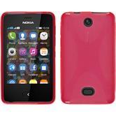 Silikon Hülle Nokia Asha 501 X-Style rot + 2 Schutzfolien