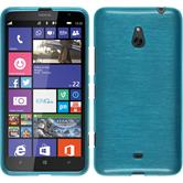 Silikon Hülle Nokia Lumia 1320 brushed blau + 2 Schutzfolien